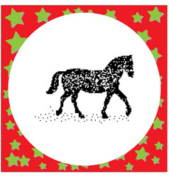 Walking horse black 8-bit dog standing vector