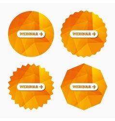 Webinar with arrow sign icon Web study symbol vector