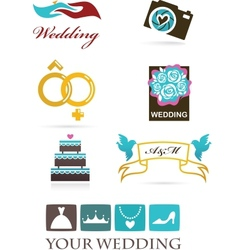 Wedding icons and graphic elements vector