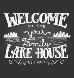 Welcome to the lake house chalkboard sign vector
