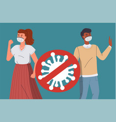 woman and man in medical face masks characters vector image