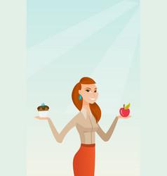 Woman choosing between apple and cupcake vector