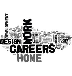Work at home careers text word cloud concept vector