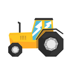 Yellow tractor heavy agricultural machinery vector