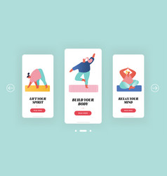 yoga class and sport activities mobile app page vector image