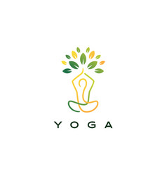 yoga leaf tree logo icon vector image