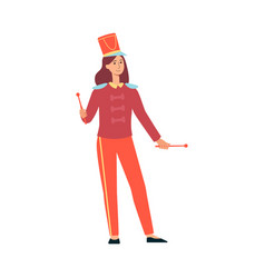 Young woman in parade costume with drumsticks in vector