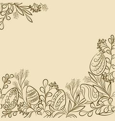 easter plants frame vector image vector image