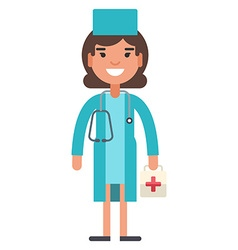 Female young medical doctor in uniform vector
