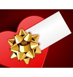 gift heart with bow top view with card vector image
