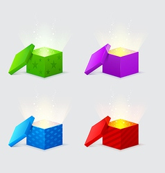 magic light comes from the gift boxes vector image vector image