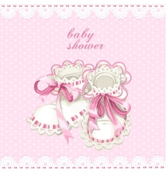 Pink booties for newborn baby shower card vector image vector image