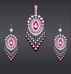set earrings and pendant silver with gemstones vector image