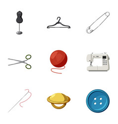 sewing supplies icons set cartoon style vector image vector image