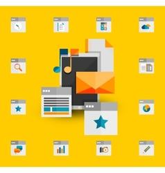 Tablet apps trendy flat design vector image vector image
