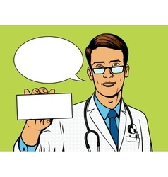 Doctor holding medicine box pop art vector image vector image