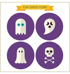 Flat Spirit Ghost Website Icons Set vector image
