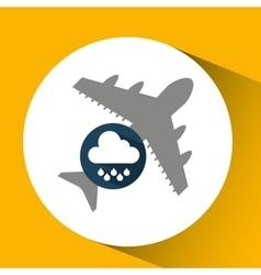 Plane travel weather forecast rain icon vector