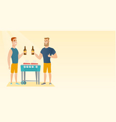 caucasian friends having fun at a barbecue party vector image