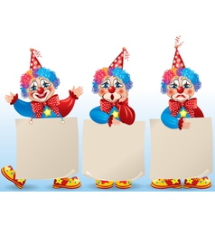 Clown with blank paper in different moods vector image vector image