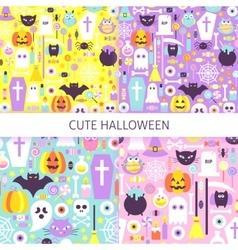 Cute Halloween Seamless Pattern Set vector image vector image
