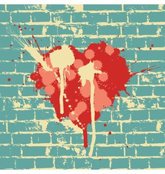 heart symbol on brick wall vector image vector image