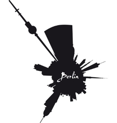 Planet Berlin circular silhouette vector image
