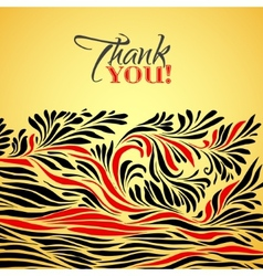 Thank you gold typographic card with ink floral vector image vector image