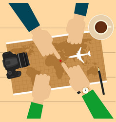two men planning vacation trip with map vector image