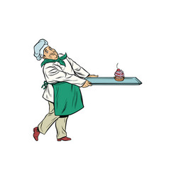 chef cook brings a tray of dessert cupcake vector image