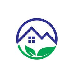 circle leaf home eco logo vector image