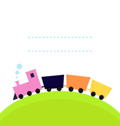 Cute colorful Train on hill with copy space vector image vector image