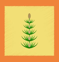 Flat shading style icon wild flower equisetum vector