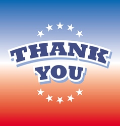 thank you banner on red and blue background vector image