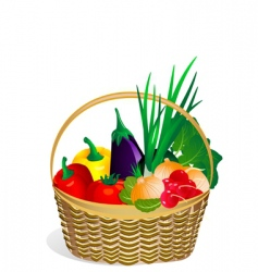 vegetables in the basket vector image