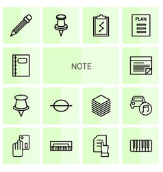14 note icons vector image