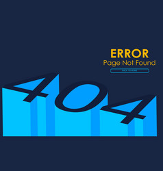 404 error page not found in 3d style graphic vector image