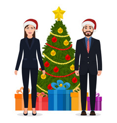 a man and a woman in a suit and christmas hats vector image