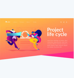 Agile project management landing page template vector