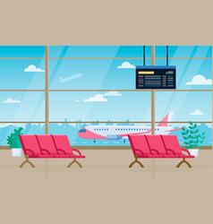 Airport departure lounge cartoon vector