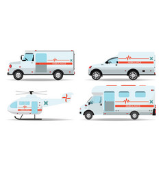 ambulance cars and helicopter emergency ambulance vector image