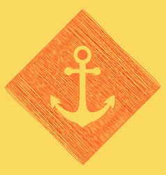 Anchor icon red scribble icon obtained as vector