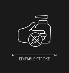 antiseptic hand washing white linear icon vector image