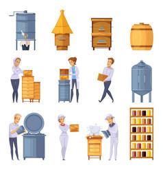 Apiary honey production cartoon set vector