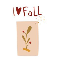 autumn cute card in flat vector image