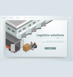 Banner logistic solutions cartoon flat vector
