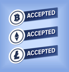 bitcoin ethereum litecoin accepted here sticker vector image