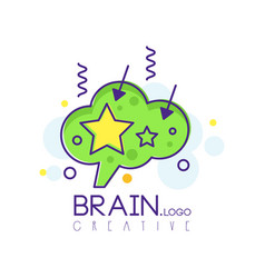 Brain logo in line style with green fill vector