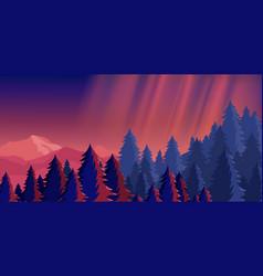 Bright night sky mountain vector