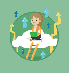Business woman sitting on cloud with laptop vector